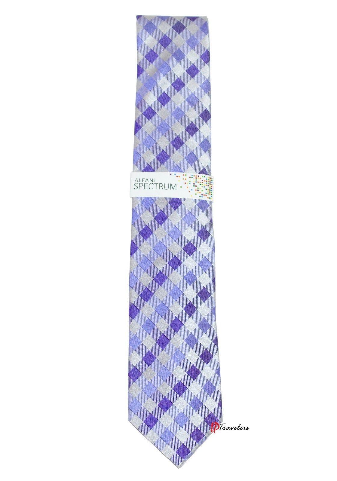 Alfani Spectrum Men's Neck Tie Gingham Light Purple Checkered 100% Silk $49.50