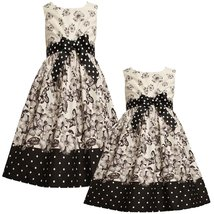 Bonnie Jean Little Girl 2T-6X Black White Floral Butterfly Border Social Dress