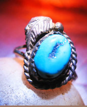 Haunted RING 3X FEATHER IN THE WIND TRIBAL MAGICK 925 TURQUOISE WITCH CASSIA4 - $35.00