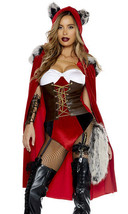 Sexy Forplay Red Haute Riding Hood Bodysuit Deluxe Costume 4pc - $82.99+