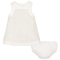 Mayoral Baby Girls 0M-12M Ivory Off-White Geometric Guipure Lace Social Dress