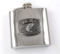 "Brand New Mirror Polished ""Fish"" Stainless Steel Liquor Flask 6oz - €12,05 EUR"