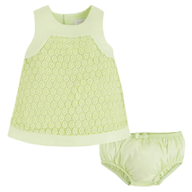 Mayoral Baby Girls 0M-12M Lime Green Geometric Guipure Lace Social Dress