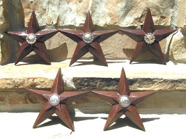 FIVE Cast Iron Western Stars Rust with center Conchos bz - $119.98