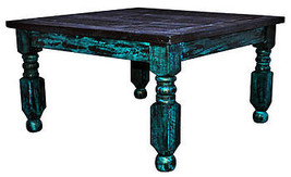 Rustic Turquoise Scrape Lyon Coffee Table Western Cabin Lodge Distressed... - €430,96 EUR