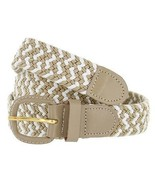 "Beige/White Leather Covered Buckle Woven Elastic Stretch Belt 1-1/4"" Wide - $7.99"
