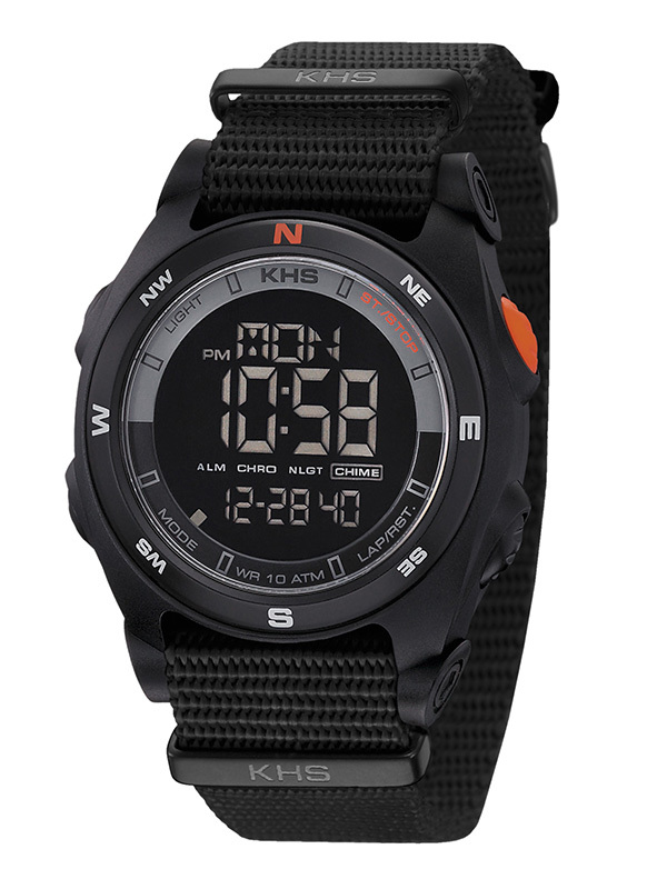 KHS Tactical Watches Sentinel Digital Compass Alarm Chronograph Black Nato Strap
