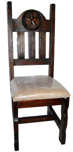 Rustic Dark Padded Seat With Star Solid Wood Western Cabin Lodge