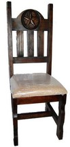 Rustic Dark Padded Seat With Star Solid Wood Western Cabin Lodge - $272.25