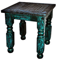 Turquoise Scrape Lyon End Table Rustic Western Shabby Chic Cabin Lodge Wood - $262.35