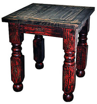 Red Scrape Lyon End Table Rustic Western Shabby Chic Cabin Lodge Solid Wood - $262.35