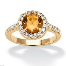 WOMEN ROSE GOLD CZ CITRINE NOVEMBER BIRTHSTONE RING SIZE 5 6 7 8 9 10 - $79.19
