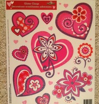 Static Window Clings New Valentine's Day Glitter Pink Red Purple Hearts  - $8.42