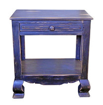 Stone Brown End Table Shabby Chic Real Solid Wood - $242.55