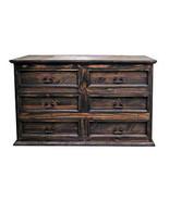 Rustic Medium Wax 6 Drawer Dresser Real Solid Wood Western Cabin Lodge - $618.75