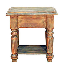 Mint Finish End Table Shabby Chic Real Solid Wood Distressed Cabin Lodge - $242.55