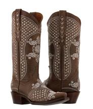 Womens Brown Distressed Leather Rhinestones Western Cowboy Wedding Boots - $329.99