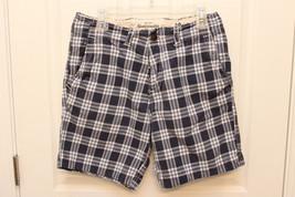 Abercrombie & Fitch Blue & White Plaid Flat Front Shorts Mens Sz 30  - $16.37