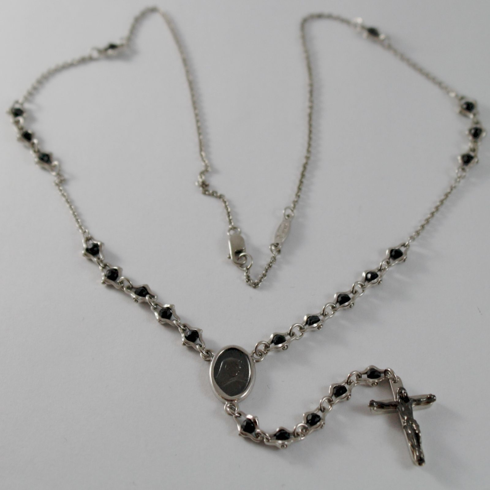 925 SILVER NECKLACE, ONYX, VIRGIN MARY MEDAL, CROSS BY ZANCAN MADE IN ITALY