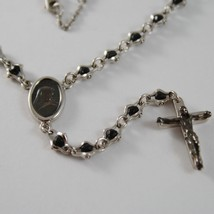 925 SILVER NECKLACE, ONYX, VIRGIN MARY MEDAL, CROSS BY ZANCAN MADE IN ITALY image 3
