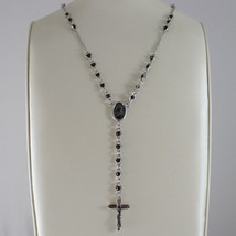 925 SILVER NECKLACE, ONYX, VIRGIN MARY MEDAL, CROSS BY ZANCAN MADE IN ITALY image 2