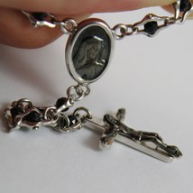 925 SILVER NECKLACE, ONYX, VIRGIN MARY MEDAL, CROSS BY ZANCAN MADE IN ITALY image 4