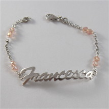 925 SILVER BRACELET WITH NAME FRANCESCA & CUBIC ZIRCONIA MADE IN ITALY 79,00 USD image 1