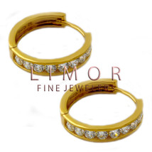 925 Silver 14K Yellow Gold Plated Huggie Cubic Zirconia Earrings 14mm 15... - $25.47+