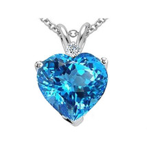Beautiful Women's Heart Shape Blue Topaz Pendant In Y OR W 925 Silver image 1