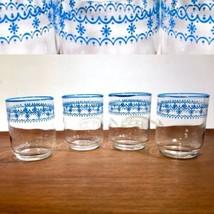 VIntage MCM Corelle/ Pyrex SNOWFLAKE BLUE Juice TUMBLERS GLASSES Libbey ... - $15.99