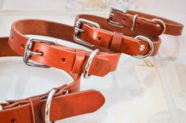 Flat Sturdy Leather Dog Collar made with Saddle Tan Genuine Cowhide Heav... - $10.00 - $22.00