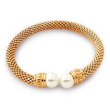 Women's Elegant Italian 925 Silver Pearl Bangle Bracelet 14K Rose Gold Plated - $127.71