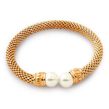 Women's Elegant Italian 925 Silver Pearl Bangle Bracelet 14K Rose Gold P... - $127.71