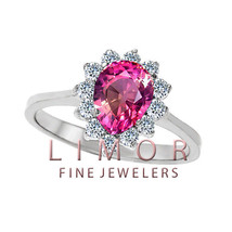 Women's Pear Shape Created Pink Sapphire Cocktail Ring 14K WG 8x6mm Size 7 - $296.01