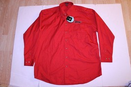 Men's Sioux City Bandits XL NWT L/S Polo Collared Dress Shirt (Red) Rive... - $23.14