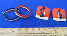 2 Pairs Vintage Earrings Red White & Blue Hoop & Sailboat Nautical Jewelry - $7.91