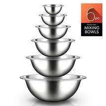 Stainless Steel Kitchen Mixing Bowls - 6 Piece Premium Space Saving Nesting - $69.54