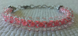 "Bracelet Womens 6 1/3"" - 7 1/2"" Bright Pink Seed Beaded clear drops - $19.00"