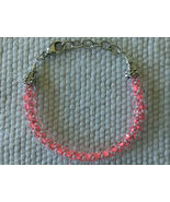 """Bracelet Womens 6 1/3"""" - 7 1/2"""" Bright Pink Seed Beaded clear drops - $14.99"""