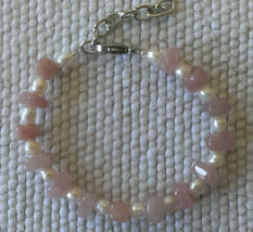 "Bracelet 6 1/3"" - 8"" Rose Quartz and Cultured Pearl  Handmade Gift Elegant  - $13.00"