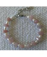 "Bracelet 6 1/3"" - 8"" Rose Quartz and Cultured Pearl  Handmade Gift Elegant  - $12.99"