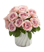 Rose Artificial Arrangement in Marble Finish Vase - $54.24