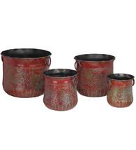 Set of 4 Metal/Iron Handles Red Grapes Planters,Garden  Patio Decor,Flow... - $173.25