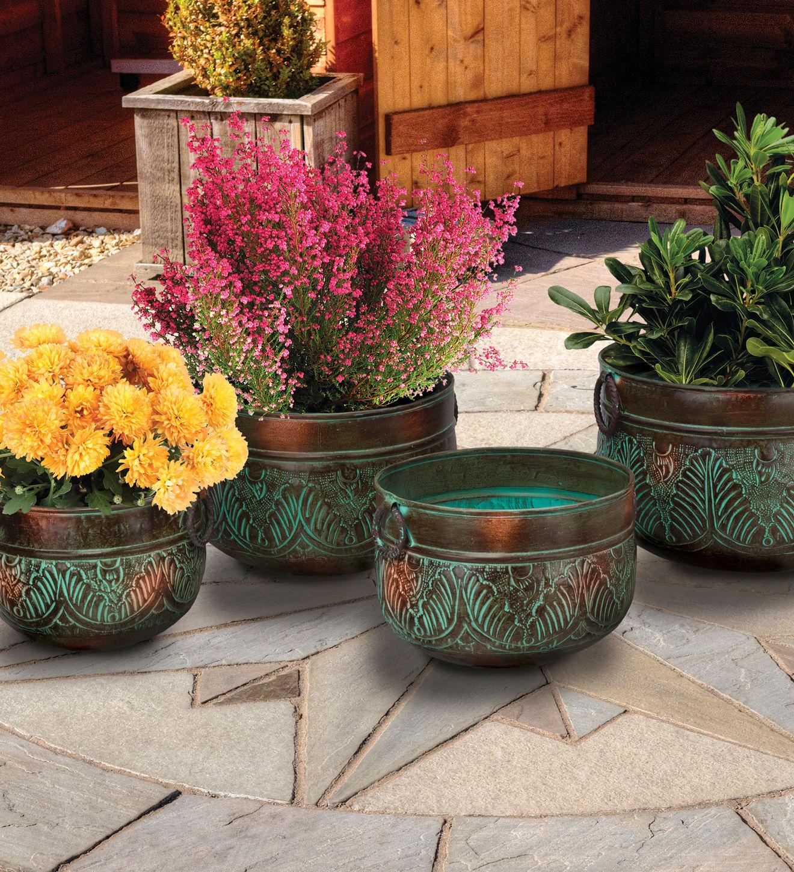 Set 4 Metal Iron Handles Bronze Leaves Planters Garden