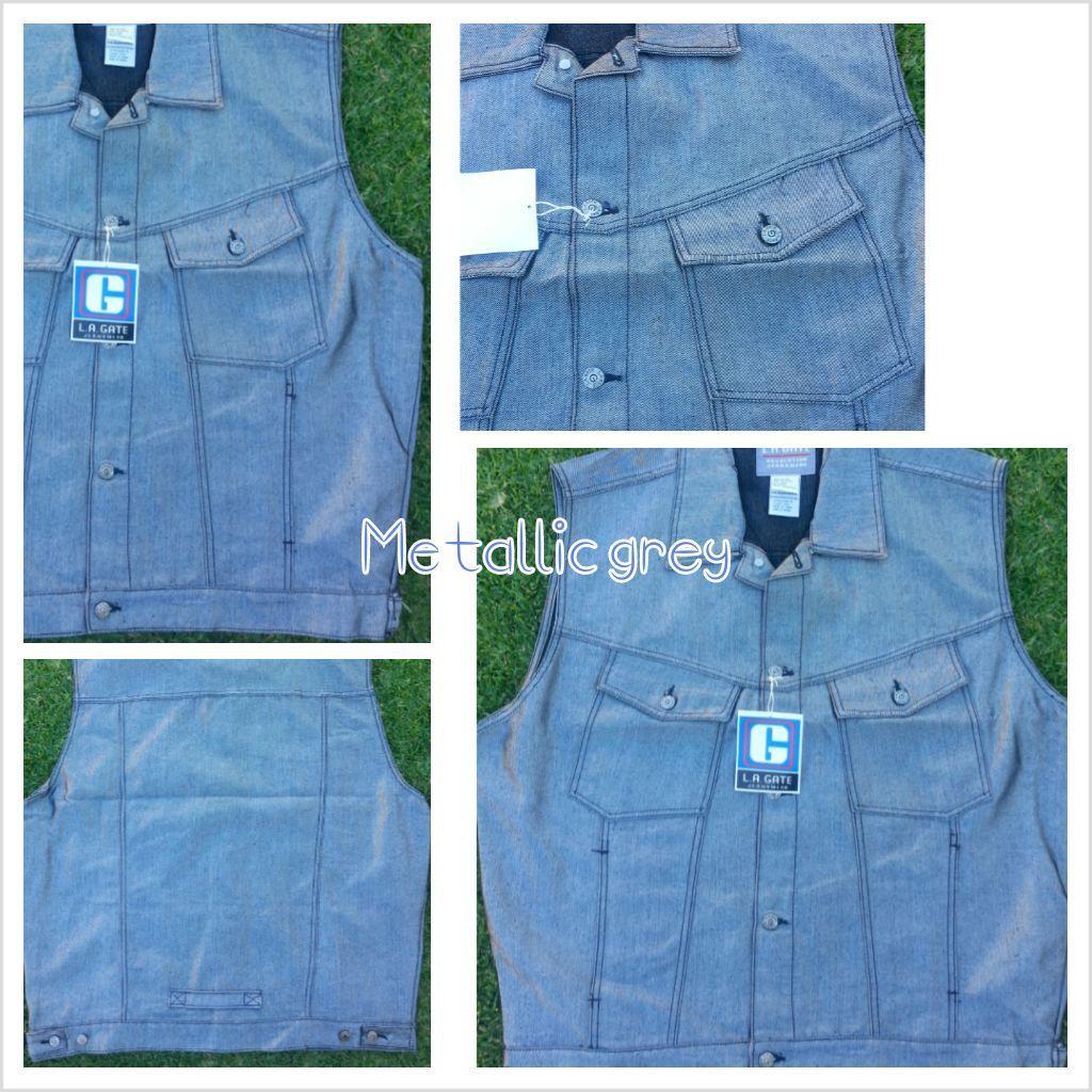 Metallic Gray sleeveless denim vest Sleeveless Denim Jean Vest jacket XL-3X