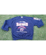 NEW YORK BLACK YANKEES SWEATSHIRT NAVY BLUE BLA... - $22.56
