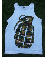 Camouflage Grenade sleeveless tank top Mens white tank top Grenade Tank ... - $15.43
