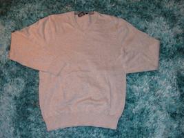 Gray long sleeve V neck sweater Mens Gray long sleeve cotton sweater  MED - $17.15