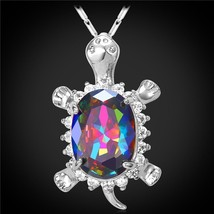 U7 Cute Turtle Crystal Necklaces & Pendants Gold Color AAA Cubic Zirconia Lovely - $16.36