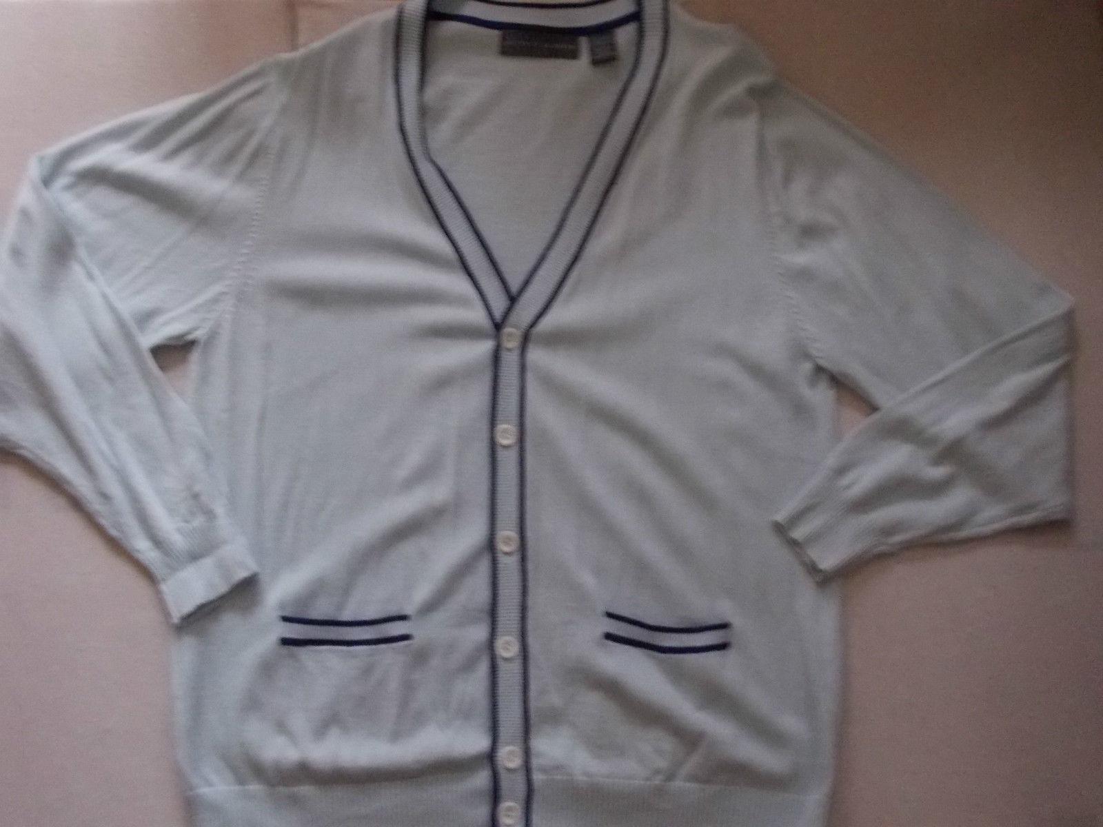 Blue long sleeve Cardigan sweater button up sweater Oscar De La Renta sweater LG - $31.64